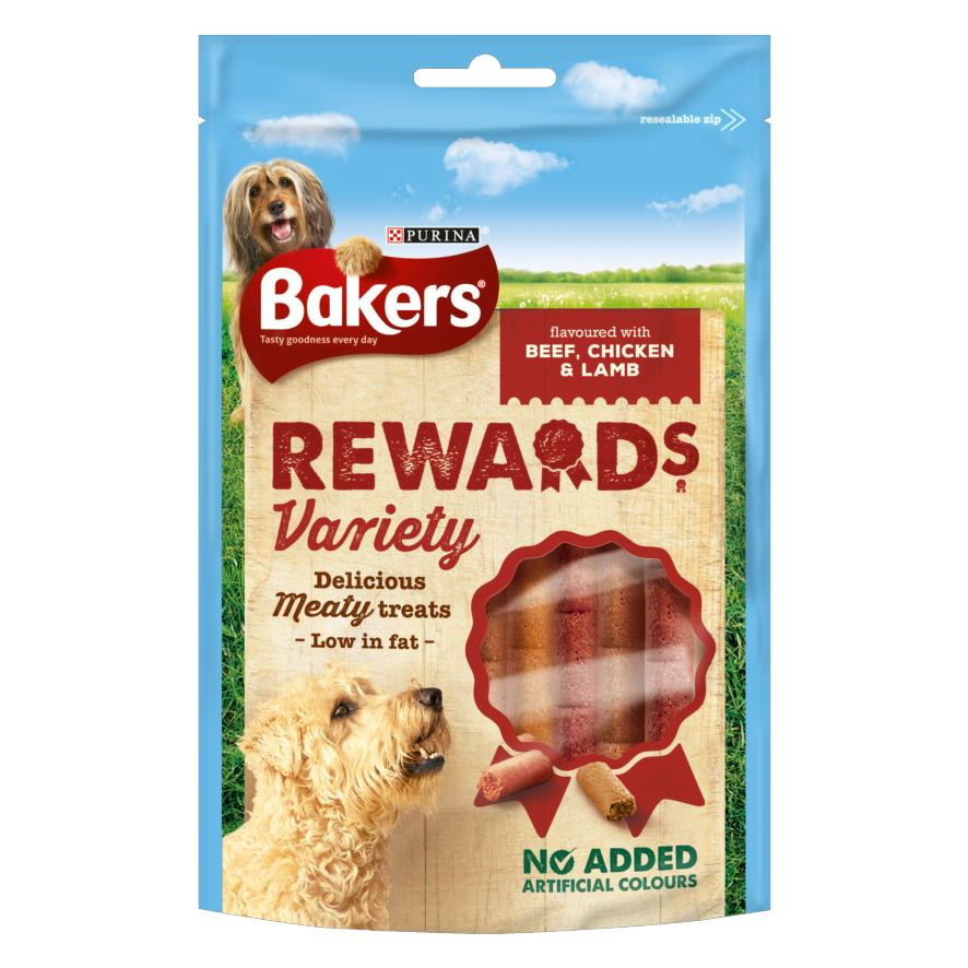 (REDUCED TO CLEAR – BB 06/2020) Bakers Rewards Various Treats Beef, Chicken and Lamb Flavour 12pk