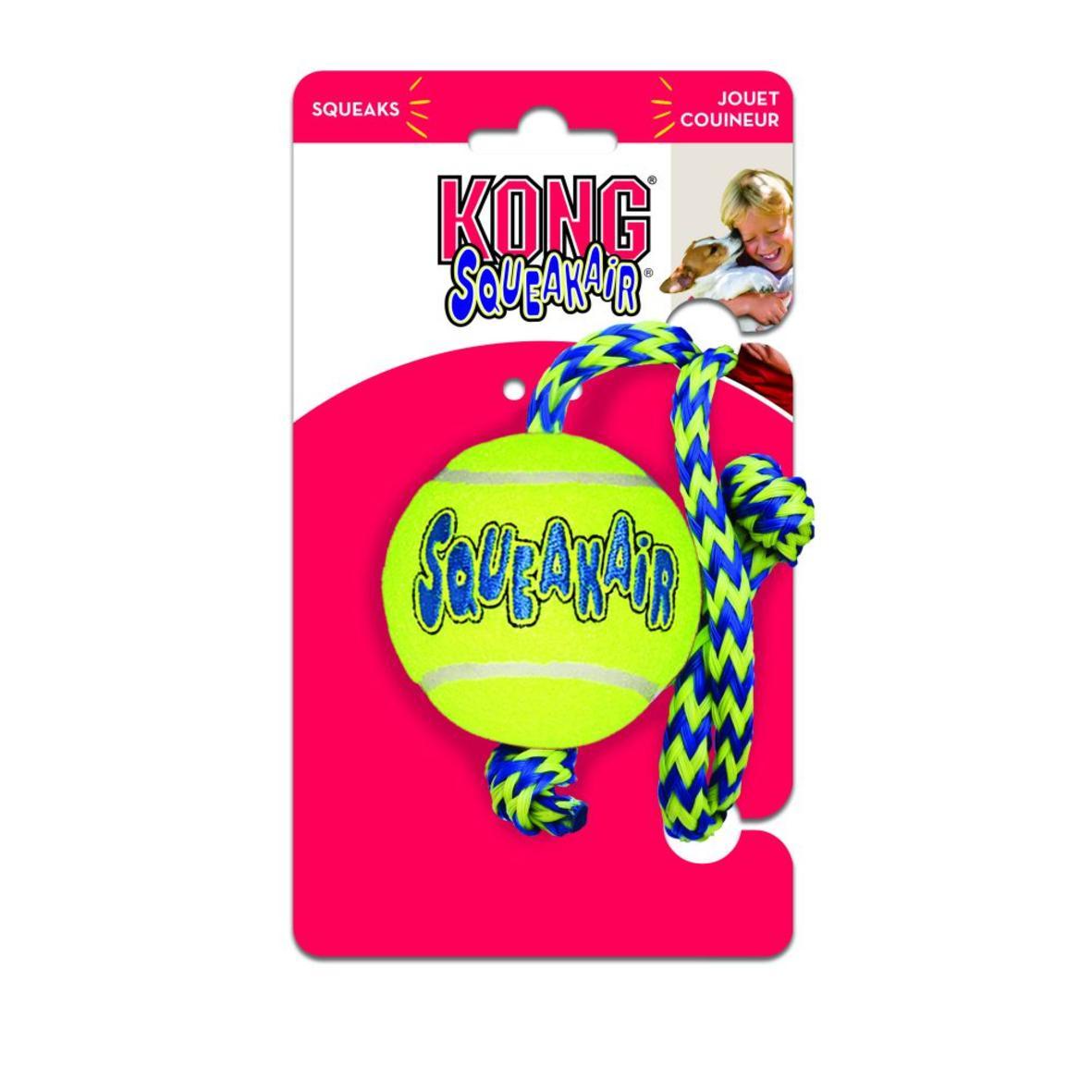 KONG SqueakAir Tennis Ball with Rope MEDIUM 2.5″