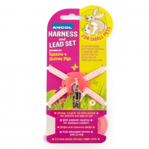 Ancol Small Pet Harness and Lead Set Pink Spots