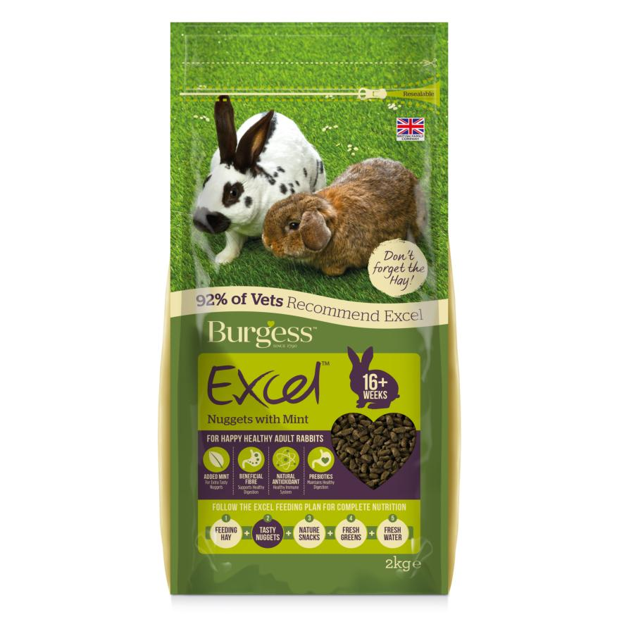 CLEARANCE Burgess Excel Rabbit Nuggets with Mint 2kg