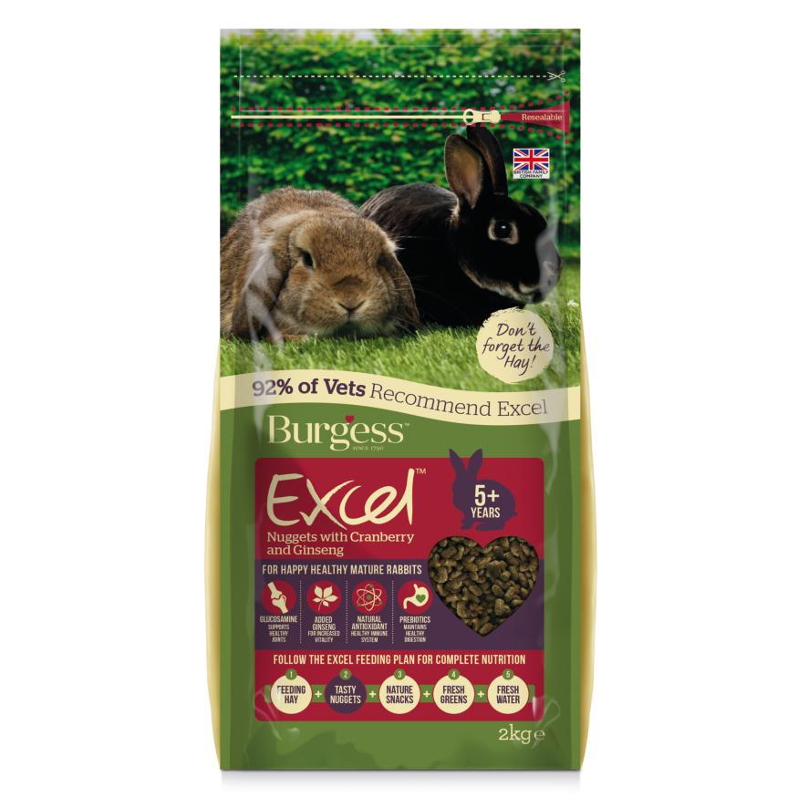 CLEARANCE Burgess Excel Mature Rabbit Nuggets with Cranberry and Ginseng 5+ 2kg