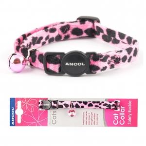 Ancol Velvet Leopard Print Cat Collar Pink