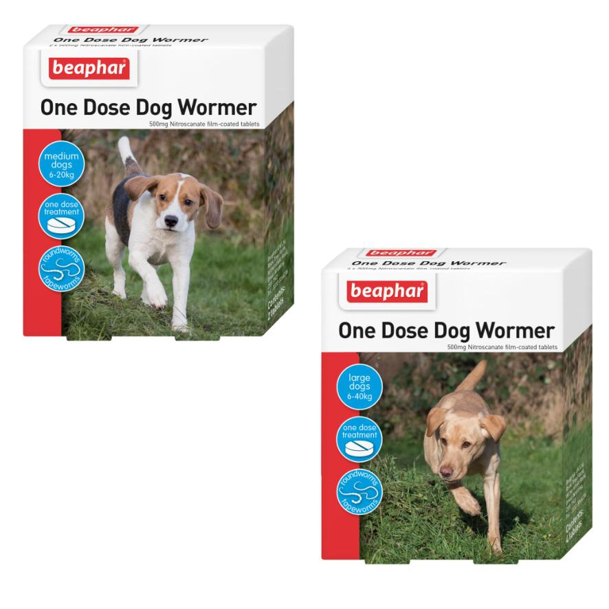 CLEARANCE BEAPHAR One Dose Wormer for Dogs 6-40kg (Two Sizes)