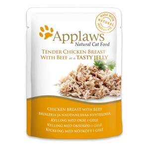 Applaws Pouches Chicken Breast with Beef in Jelly for Cats 16 x 70gm