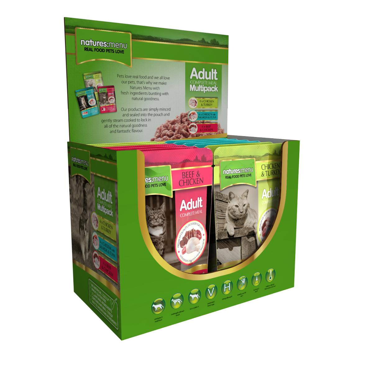 CLEARANCE Natures Menu Adult Complete Multipack Cat Pouches 12 x 100gm
