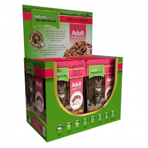 Natures Menu Adult Complete Beef & Chicken Cat Pouches 12 x 100gm