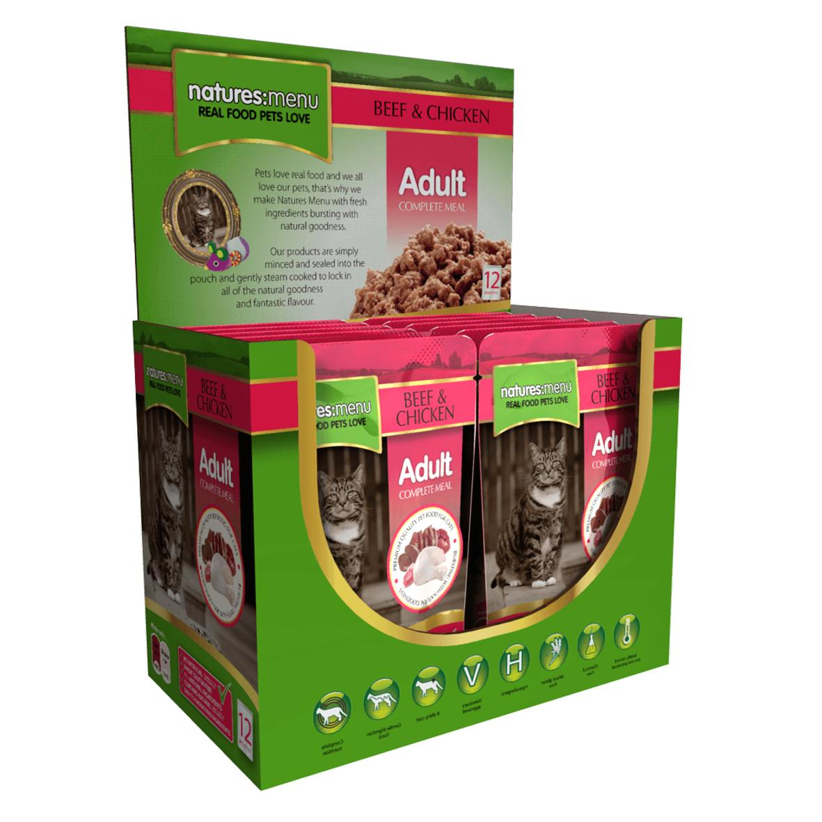 CLEARANCE Natures Menu Adult Complete Beef & Chicken Cat Pouches 12 x 100gm