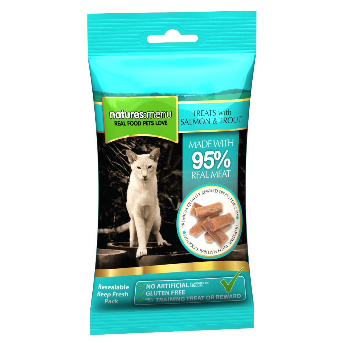 CLEARANCE Natures Menu Real Meat Cat Treats with Salmon & Trout 60gm