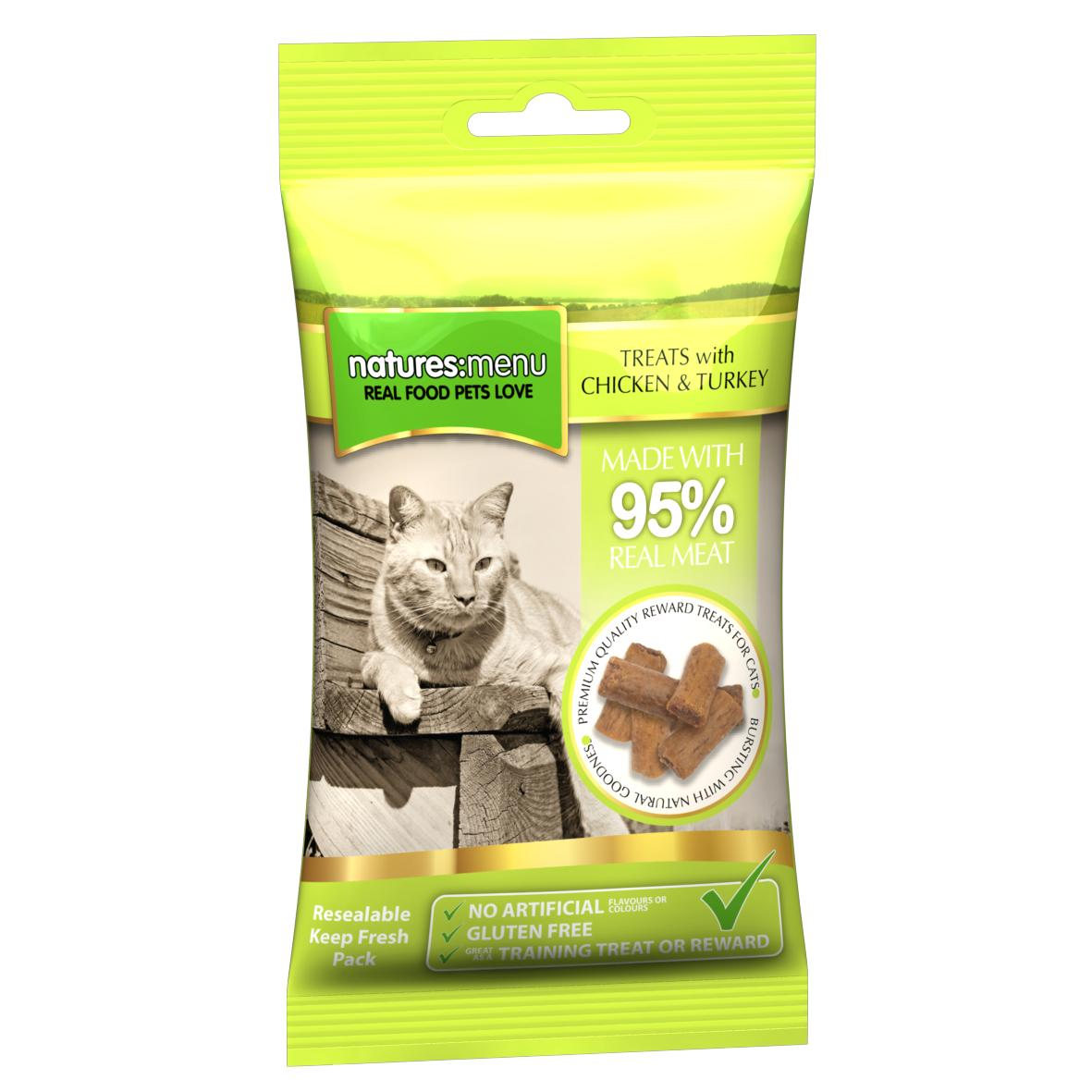 CLEARANCE Natures Menu Real Meat Cat Treats with Chicken & Turkey 60gm