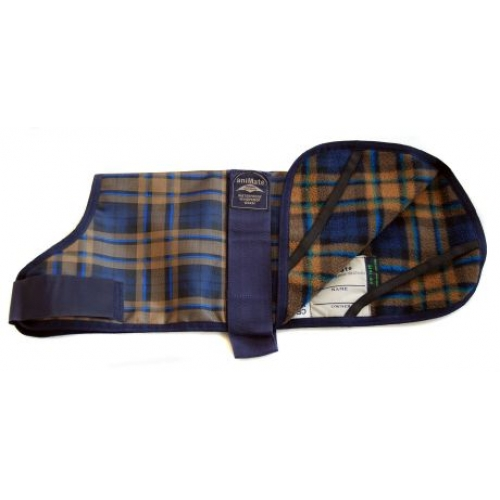 Animate Fur Lined Dog Coat Camel Watch Tartan