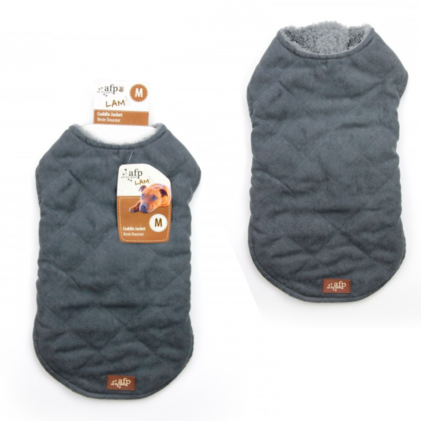 All for Paws Lamb Diamond Stitch Jacket for Dogs Grey