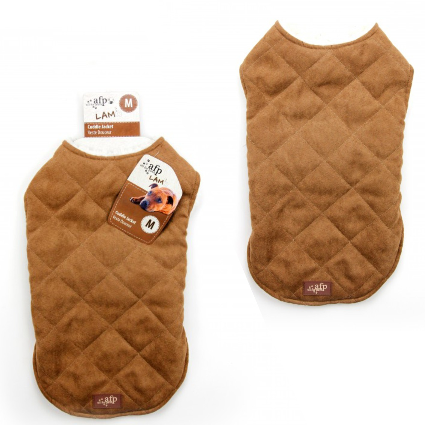 All for Paws Lamb Diamond Stitch Jacket for Dogs Tan