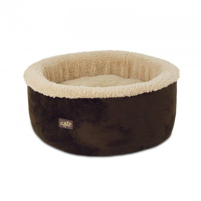 All for Paws Lamb Curl and Cuddle Bed Brown