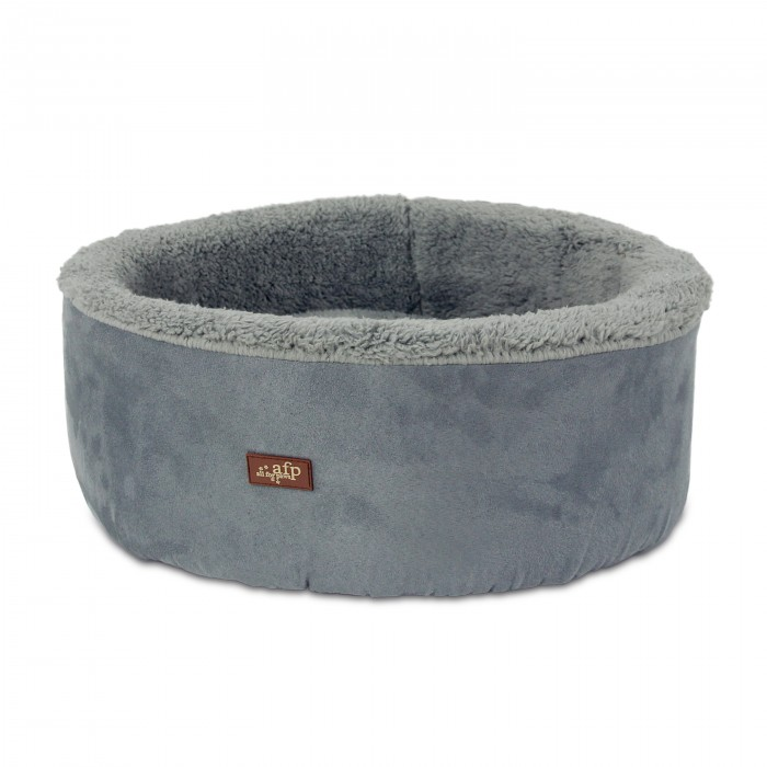 All for Paws Lamb Curl and Cuddle Bed Grey