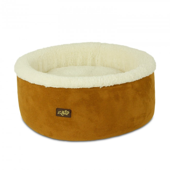 All for Paws Lamb Curl and Cuddle Bed Tan