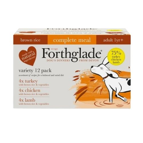 Forthglade Adult Complete Meal Brown Rice Variety Pack 12x395g [Turkey, Lamb, Chicken]