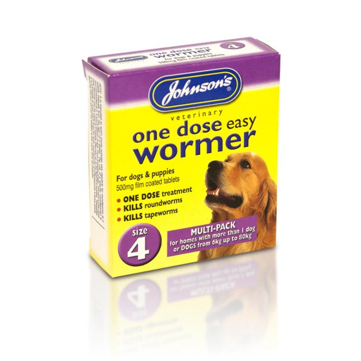 Johnsons One Dose Wormer for Large Dogs Multipack Size 4