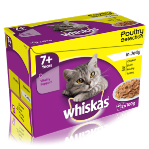 Whiskas Senior Cat Food Poultry Selection in Jelly 48pcs