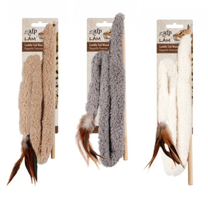 CLEARANCE All for Paws Cuddle Tail Wand with Catnip, Feathers & Crinkle 76cm (Colours Vary)