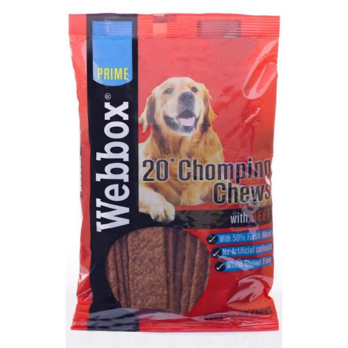CLEARANCE Webbox Chomping Chews with Beef 20pcs