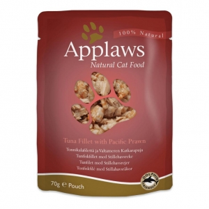 Applaws Pouches Tuna Fillet with Prawns in Broth for Cats 12 x 70gm