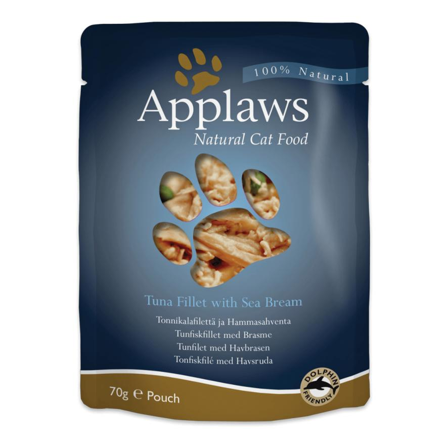 Applaws Pouches Tuna Fillet with Sea Bream in Broth for Cats 12 x 70gm 611053