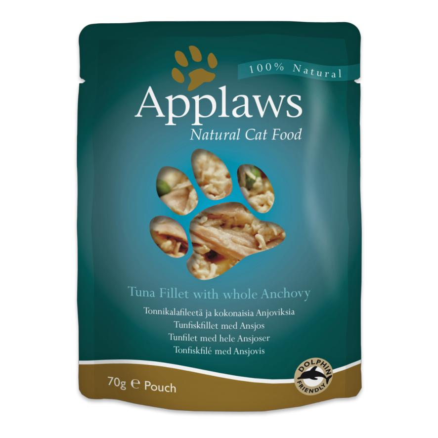 CLEARANCE Applaws Cat Tuna Fillet with Whole Anchovy Pouches 12 x 70gm