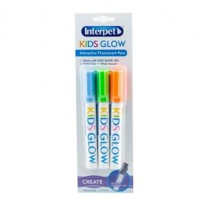 Interpet Kids Glow Aquarium Writing Pens Orange, Green, Blue