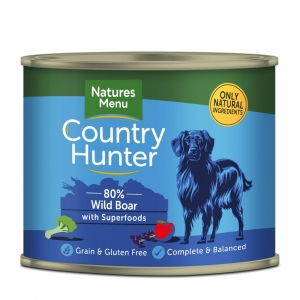 Natures Menu Country Hunter 80% Wild Boar with Superfoods 6 x 600gm (Grain & Gluten Free)