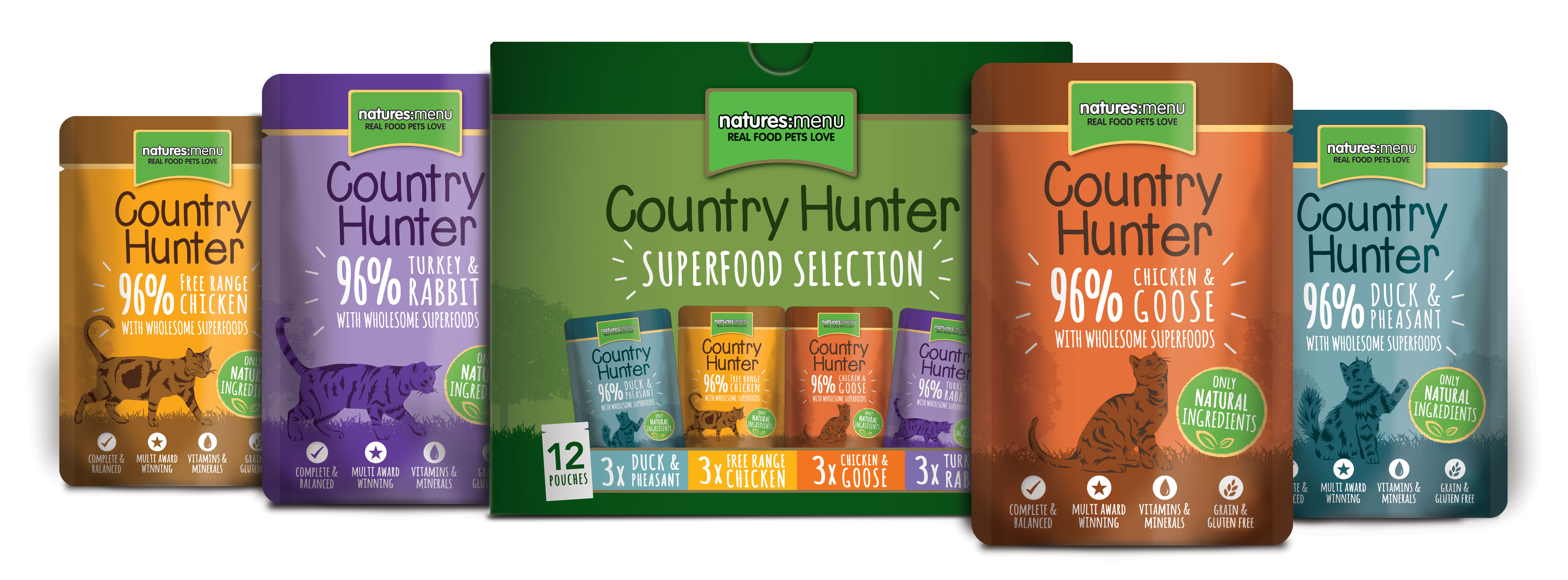 Natures Menu Country Hunter Superfood Selection Dog Pouches 36 x 150gm