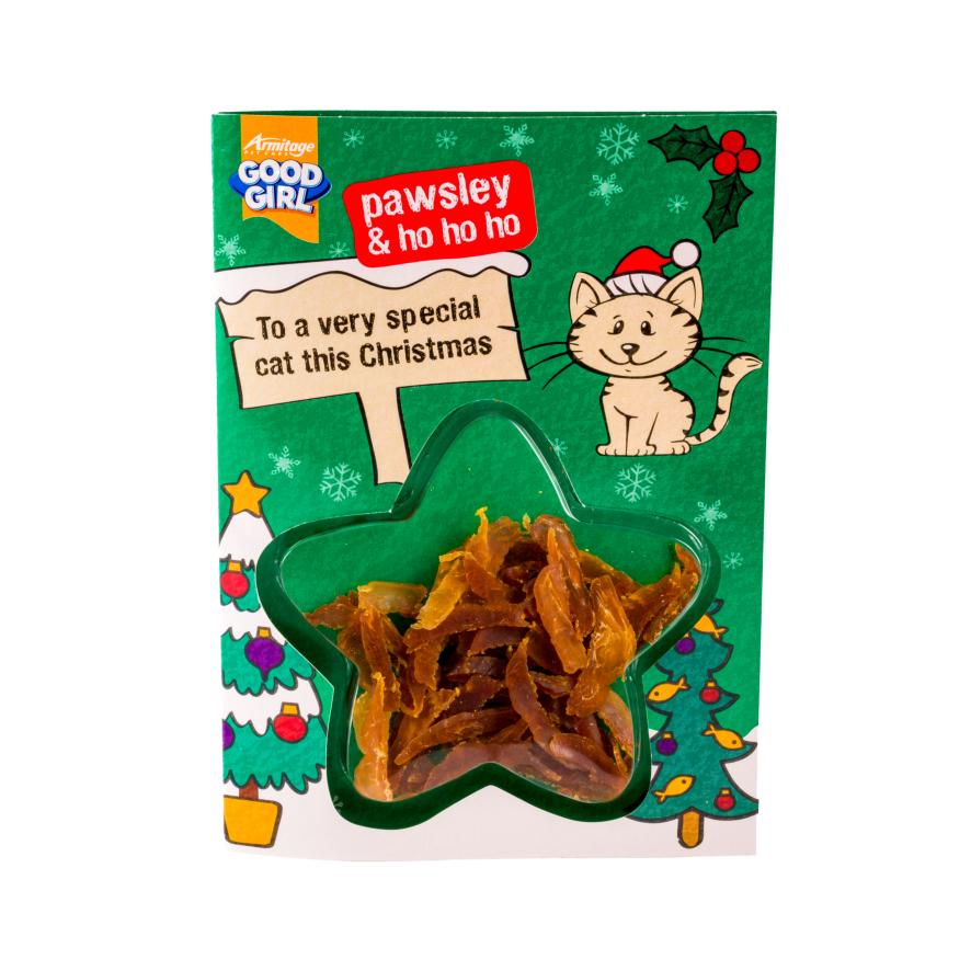 Good Girl Pawsley Christmas Card with Chicken Treats
