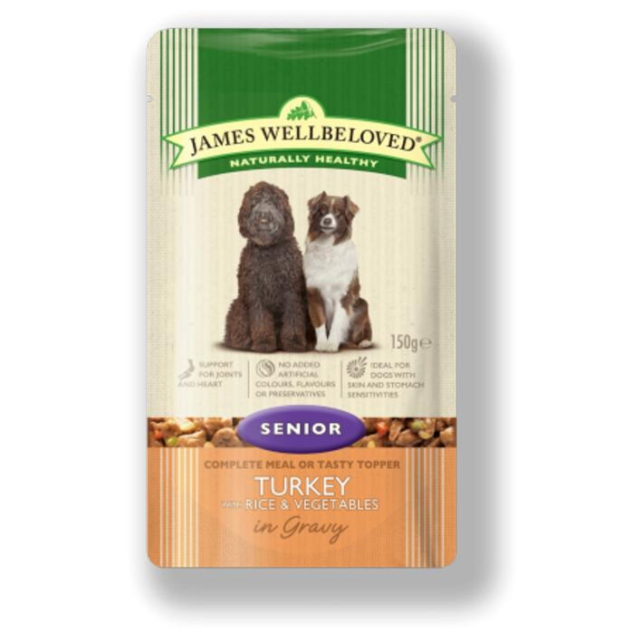 James Wellbeloved Senior Dog Food Pouches with Turkey and Rice 10 x 150gm 433175
