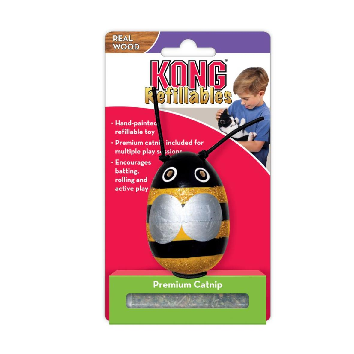 KONG Refillables Wood Bug with Catnip 9.5cm (Assorted Designs)