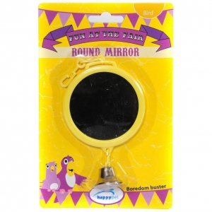 Happy Pet Round Bird Mirror with Bell