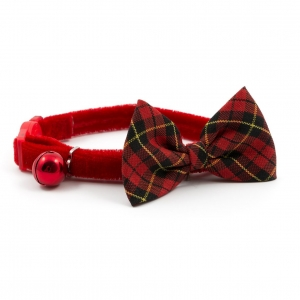 Ancol Vintage Bow Cat Collar Tartan Red 20-30cm