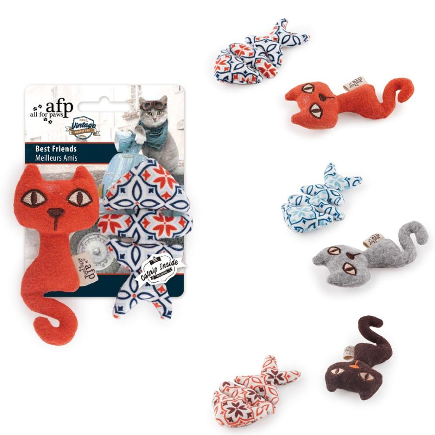 All for Paws Best Friends Catnip Duo 2pcs 11cm (Assorted Colours)