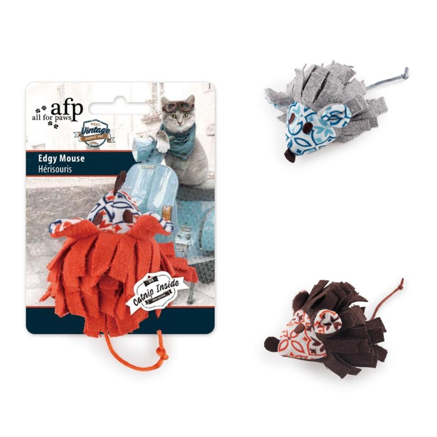 All for Paws Edgy Mouse with Catnip 9.5cm (Assorted Colours)