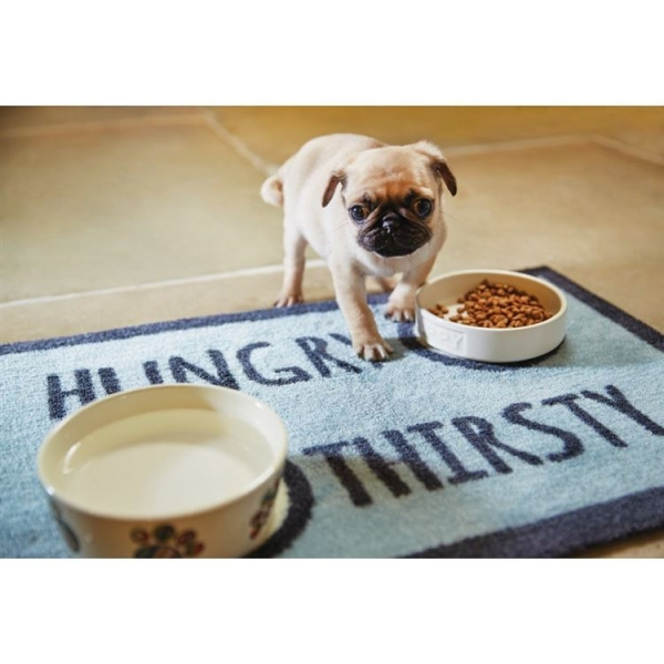 "Howler & Scratch Feeding Mat ""Hungry 2"" Light Blue LIFESTYLE"