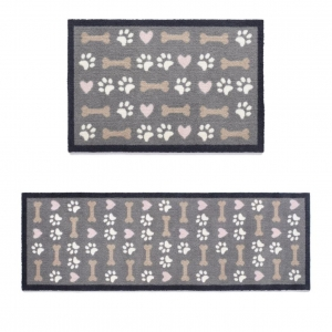 "Howler & Scratch Pet Mat ""Hearts and Bones"" Grey (Two Sizes)"
