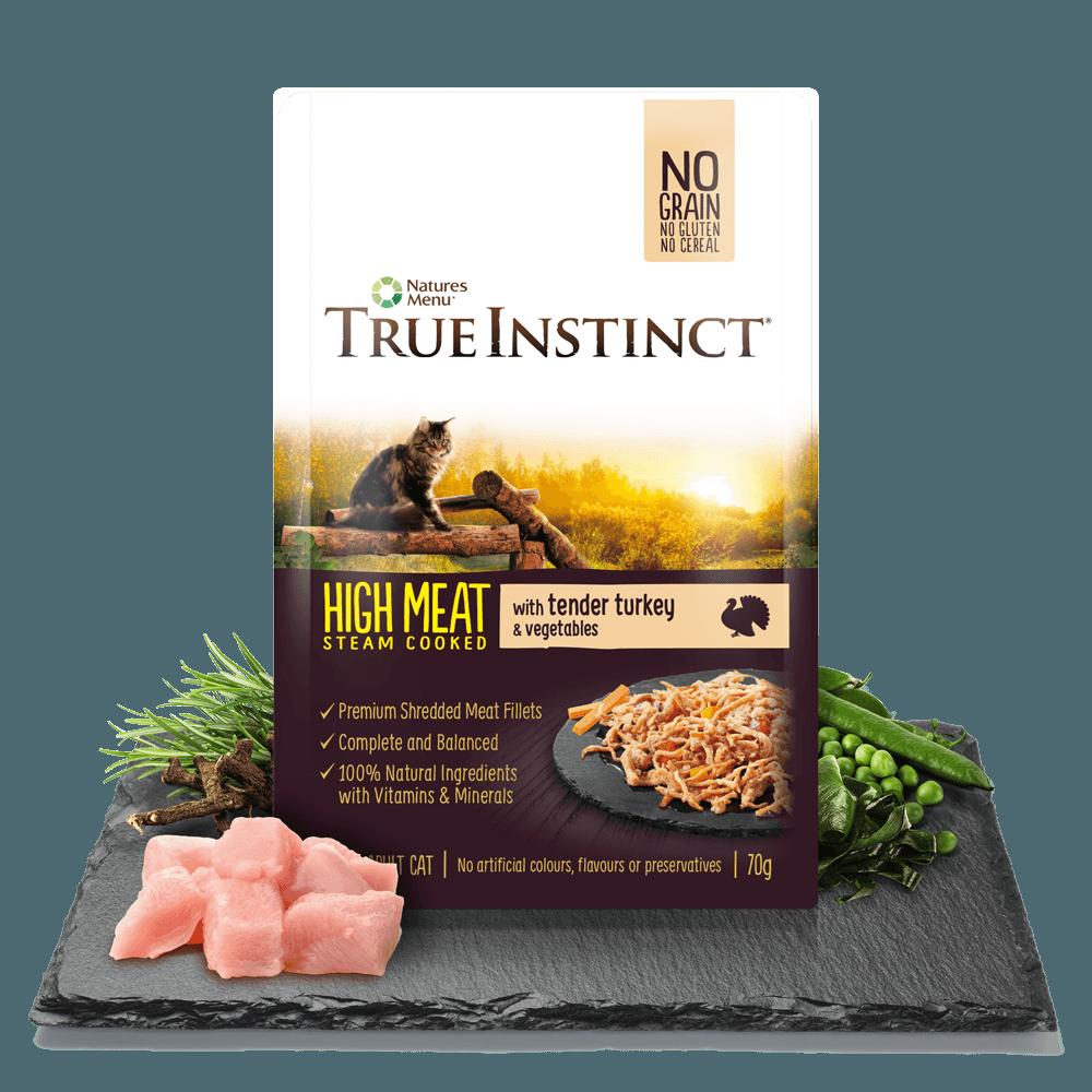 True Instinct High Meat Cat Pouches with Tender Turkey 70gm