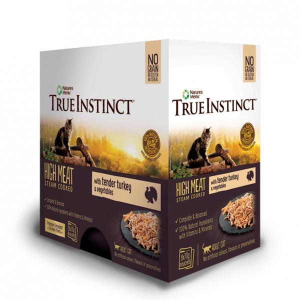 True Instinct Cat Pouches with Turkey & Vegetables 8 x 70gm (Grain & Gluten Free)