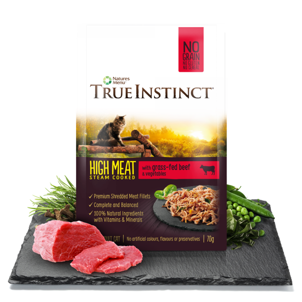 True Instinct High Meat Cat Pouches with Grass Fed Beef 70gm