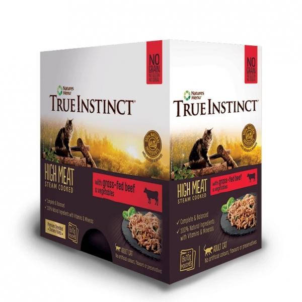 True Instinct Cat Pouches with Beef & Vegetables 8 x 70gm (Grain & Gluten Free)