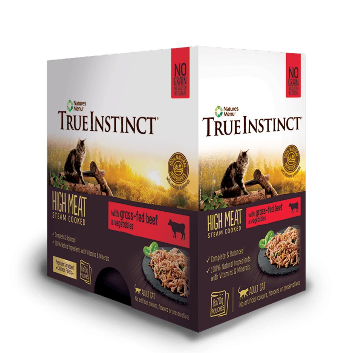 HIDDEN True Instinct Cat Pouches with Beef & Vegetables 8 x 70gm (Grain & Gluten Free)