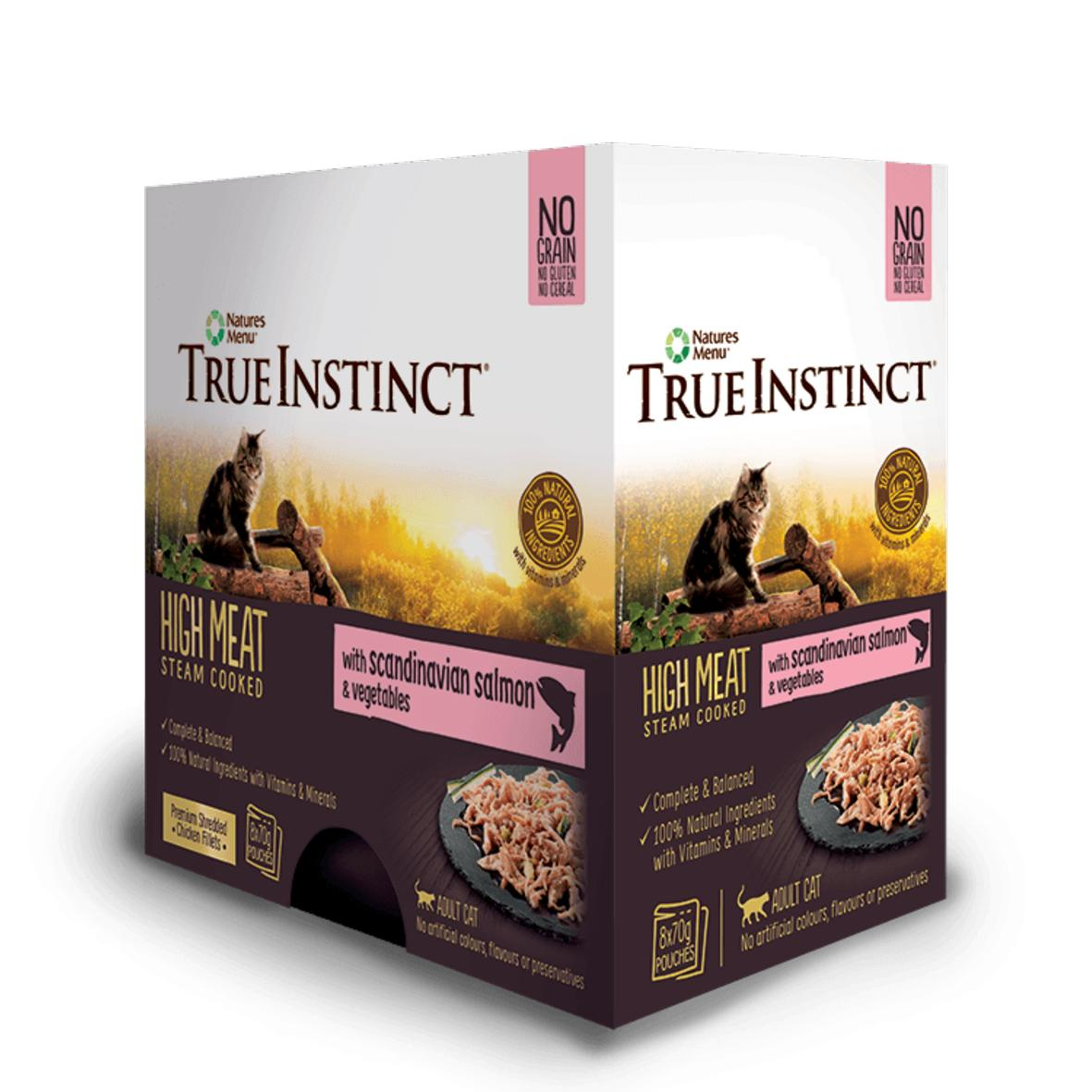 CLEARANCE True Instinct Cat Pouches with Salmon & Vegetables 8 x 70gm (BB 12.2021)
