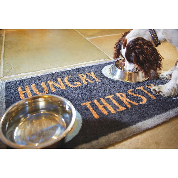 "Howler & Scratch Feeding Mat ""Hungry 4"" Dark Blue LIFESTYLE"