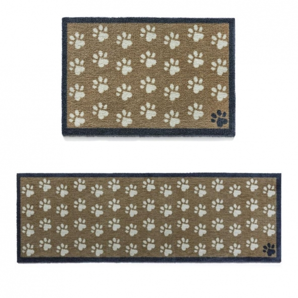 """Howler & Scratch Pet Mat """"Small Paws"""" Brown (Two Sizes)"""