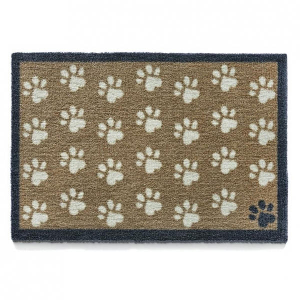 """Howler & Scratch Pet Mat """"Small Paws"""" Brown Small"""