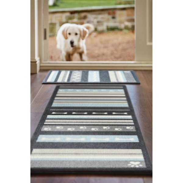 "Howler & Scratch Pet Mat ""Stripe 1"" Grey LIFESTYLE"
