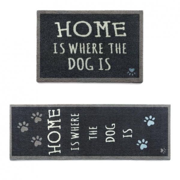 """Howler and Scratch Pet Mat """"Home 2"""" Navy (Two Sizes)"""